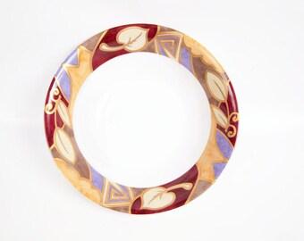 Vintage Large Serving Bowl Geometric Abstract Leaves Gold Portugal PTS International Interiors Malibu Pattern Fine Porcelain