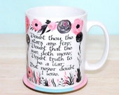 """Shakespeare Mug, Hamlet """"Doubt thou the stars are fire..."""", Literary Quote, Pink and Black Flowers Book Mug, UK"""