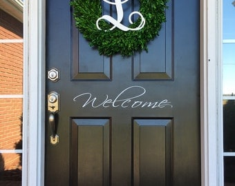 Welcome Door Decal Welcome Vinyl Decal Door Decor Home Decor Porch Decor Curb Appeal Welcome Home Decor Home and Living Vinyl Decal Welcome