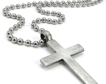 Rustic Men's Cross Necklace, Christian Jewelry - Simple Cross Pendant with Stainless Steel Chain
