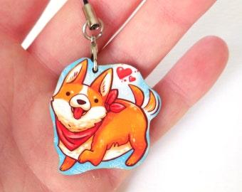 corgi dog charm,  wooden 1.5 inch charm, dog charm pendant
