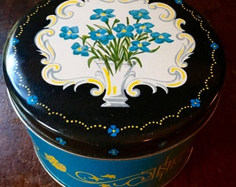 Candy Tin, Blue Forget-Me-Nots, Cherrydale Candy ca. 1950s