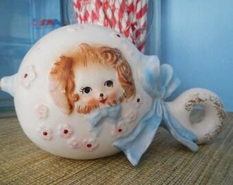 Vintage Napcoware Napco Ceramic Pottery Made in Japan Puppy Baby Rattle Planter Vase