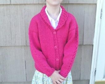 Girls Sweater Pattern, Knitting Pattern, Ava Cardigan Sweater, Shawl Collar, Lace Detail Pockets, Size 1 2 4 6 8 10 12, Chunky Yarn