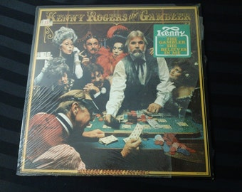 """Kenny Rogers - The Gambler - UA LA934 H - 12"""" vinyl lp, album (United Artists Records,1978) with fold-out poster ~ 70s Country music"""