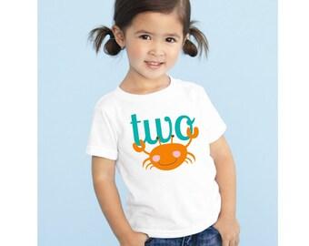 2nd Birthday Shirt, 2nd Birthday Girl, 2 Birthday Boy, Birthday T Shirt, Beach Birthday Party, Nautical Birthday, Crab Shirt, I'm 2 Shirt