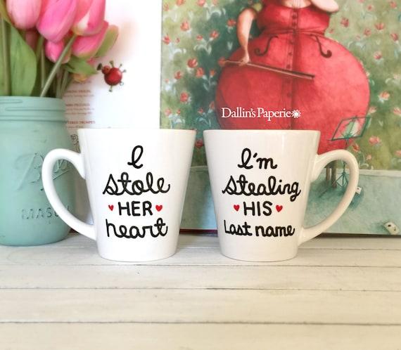 ... Gift Mug, couple mugs, Hand painted, Bridal shower gift, latte mug