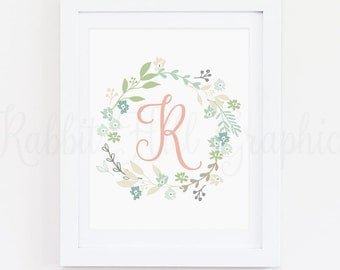 Floral Wreath Monogram Print, Initial print, Digital wall art, Nursery Print, Floral wreath, Custom name print, Monogram, Spring Wreath