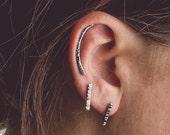 SILK CURVES - Sterling Silver ear crawler earring - Line bar hammered texture earring - Silver cartilage earring - long bar earring
