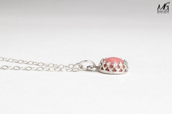Light Pink Rhodonite Gemstone Necklace in Sterling Silver