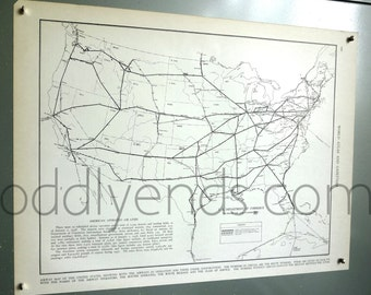 1939 Air Traffic Routes Vintage Atlas Map