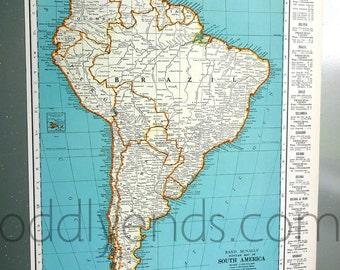 1939 South America Atlas Map