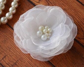 Organza White, Bridal Hair Flower, White Wedding, Hair piece, Hair Clip, Hair Accessory, Flower Girl, Bridesmaid, Fascinator, Hair Flower,