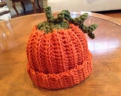 Crocheted Newborn/Infant Halloween Pumpkin Beanie (pick your size!)