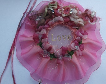 sweet tiny ooak fairy fairie best friends on rose quartz love  crystal with swarovski suncatcher crystal hearts