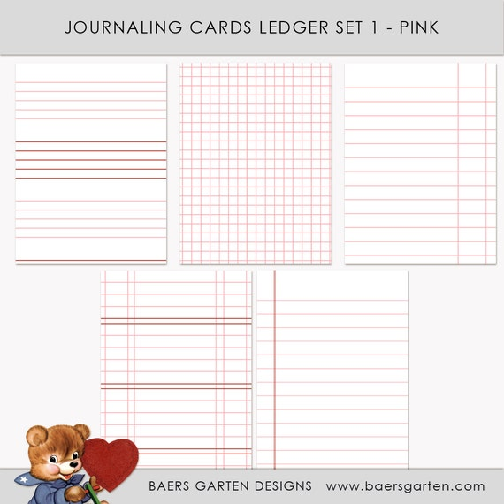 Printable Journaling Cards Ledger Set 1 Pink for Project Life and Scrapbook INSTANT DOWNLOAD