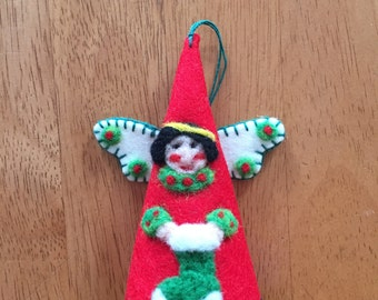 Angel Christmas Cone Ornament Needle Felted On Red Felt