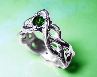 Celtic tourmaline sterling silver ring