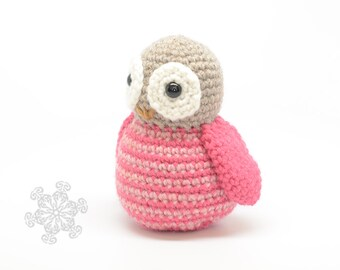 SALE Pink Owl Plushie - Striped Owl Toy