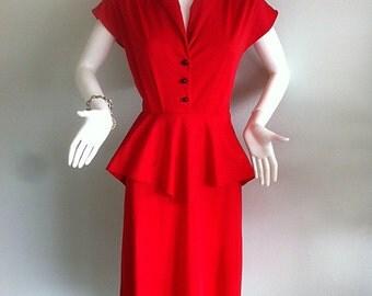 1980s does 1940s Red Polka Dot Peplum Dress -Bombshell size 8