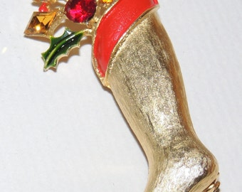 WEISS Jeweled Christmas Stocking Brooch