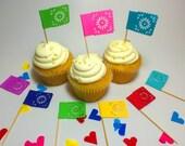 25 Tiny Banderitas - Papel Picado Designed Flag Favors - Cupcake Toppers