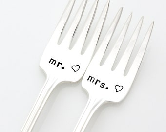 Mr and Mrs forks for a unique engagement gift by milk and honey. Stamped Wedding Silverware.