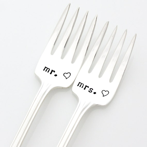 Mr and Mrs Wedding Forks. Hand Stamped Wedding Cake Forks for Unique Engagement Gift by milk and honey.