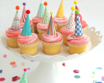 12 mini party hat cupcake toppers - brights