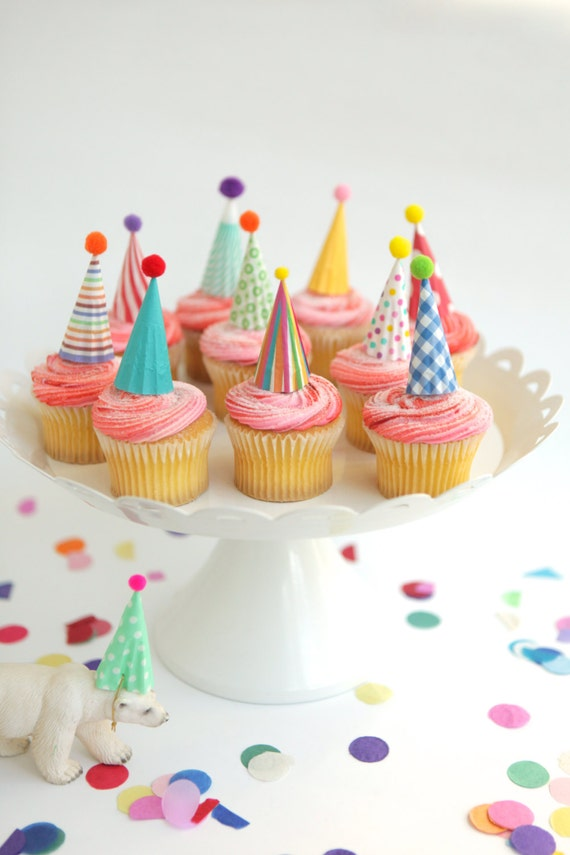 12 mini party hat cupcake toppers brights