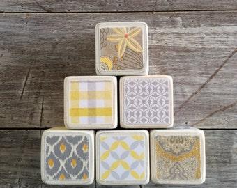 Wooden baby blocks - set of 6 - gray and yellow -  chevrons and polka dots
