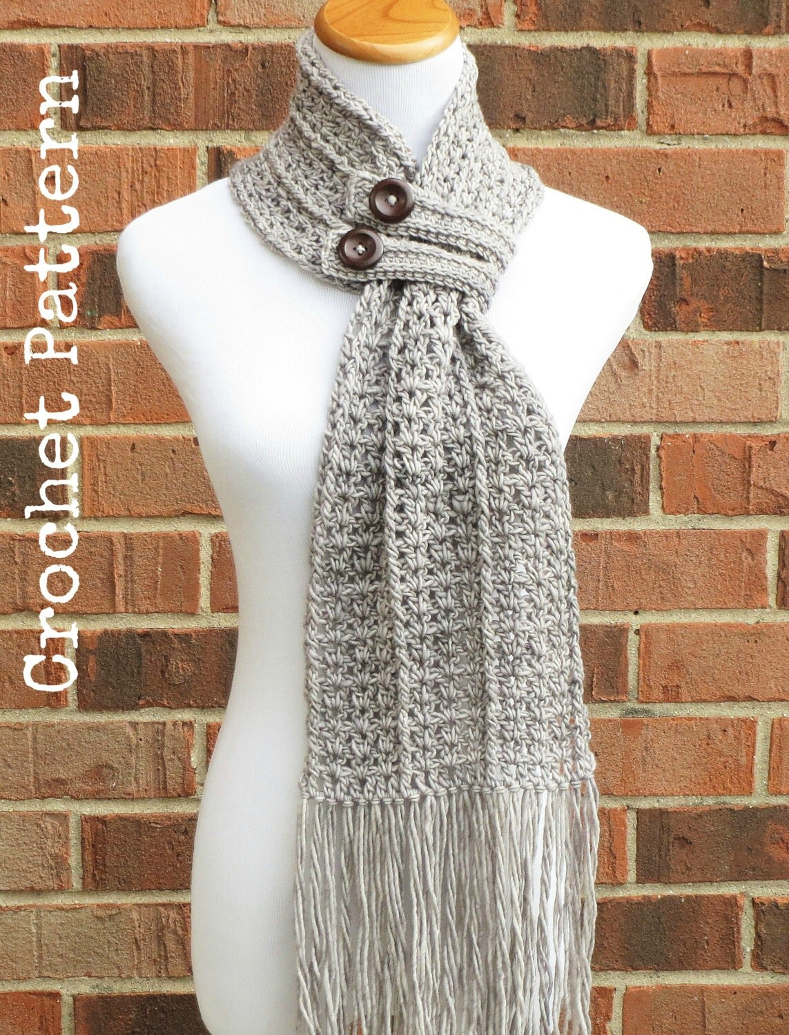 Crochet Scarf Pattern Crochet Cowl Button Scarf Neckwarmer Pattern Instant Download English Only