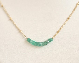Genuine Emerald Necklace- Gold Filled Necklace- Emerald Green Necklace- Delicate Necklace- Dainty Necklace- Lightweight Necklace- Simple