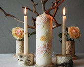 Unity Candle Set, Handpainted Beige Candles With White Roses, Wedding Ceremony Candle Set, Champagne Unity Candles With White Painted Roses
