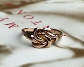 VALENTINES DAY SALE Antique British Handmade Victorian Love Knot Ring 9k Rose Gold Friendship Ring Promise Ring Edwardian Downtown Abbey