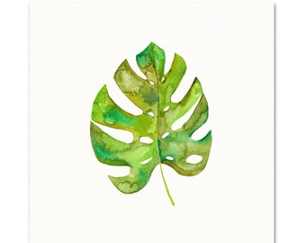 Tropical Leaf Painting. Monestera Leaf Art.  Watercolor Botanical.