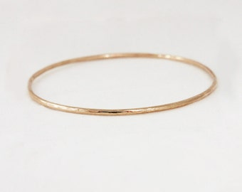2mm 18k Rose Gold Hammered Bangle Bracelet - Simple Rose Gold Bracelet - Handmade Stacking Bangle Bracelet - Solid 14k Gold