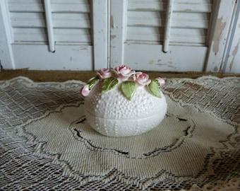 Vintage Cottage Chic White Pink Roses Bone China Egg Easter Spring Decor