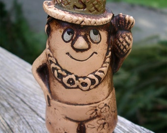 Vintage Treasure Craft of Hawaii Salt Shaker Man - Ceramic Haole Vacationer Figurine with Lei Loud Shorts Palm Leaf Hat and a Pineapple