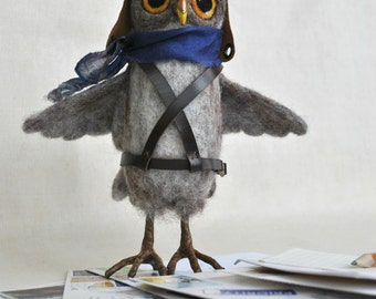Needle felted grey Owl postman bird sculpture unique art doll Natural colors OOAK