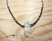 Bohemian Jewelry - Raw Crystal Necklace, Raw Quartz Necklace, Crystal Quartz Chain, Raw Crystal Jewelry, Mixed Metal Necklace