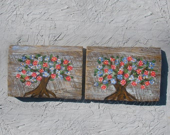 Original Penny Rug Tree Pair Of Painting Cottage Chic Farmhouse Decor Folk Art Flowers Tree Of Life Painting Shabby Chic Reclaimed Wood