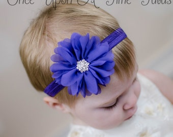 Purple Chiffon Flower Headband - Newborn Baby Hairbow Little Girls Hair Bow Infant Photo Prop - Viloet Hair Accessory - Ready To Ship