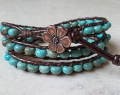 Turquoise Rondelle and Leather Wrap Bracelet