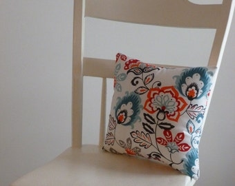 Small Decorative Floral Pillow; teal, grey, salmon and red