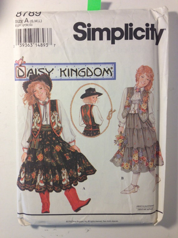 Girls Skirt, Sash, Blouse and lined Vest Simplicity Vintage Sewing Pattern 8789 90s Size 6-14 Uncut