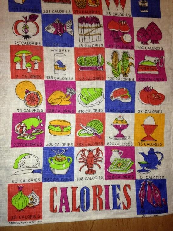 Vintage 1963 Calories Tea Towel
