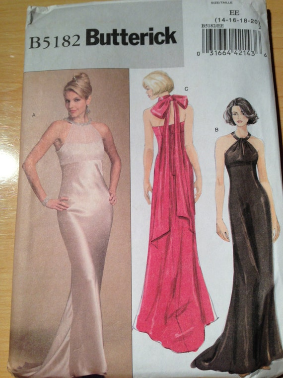 Butterick 5182 Sewing Pattern Misses Wedding Evening Gown Prom Dress Uncut Size 14-20