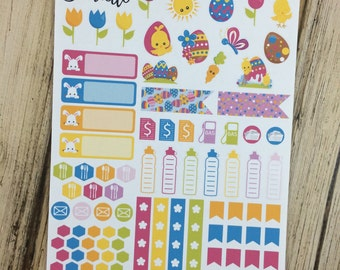 40-50% OFF SALE - Easter Planner Stickers Kit, Easter Stickers, Holiday Planner Stickers, Spring Planner Stickers, set of 91