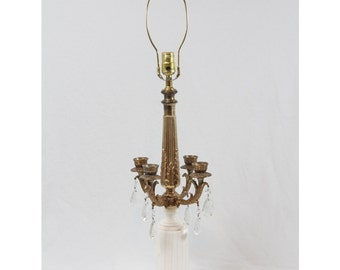 Marble Candelabra Glass Prisms Table Lamp Vintage Hollywood Regency